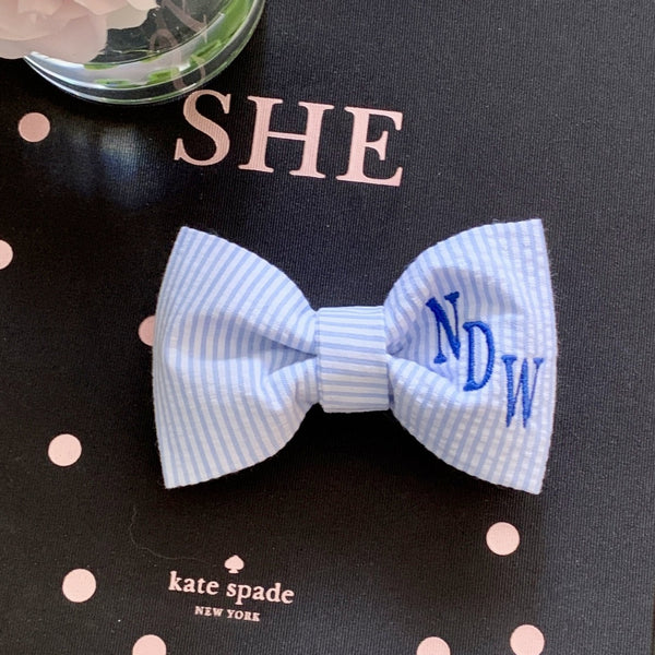 Monogram Dog Bow Ties and Sailor Bows in Seersucker