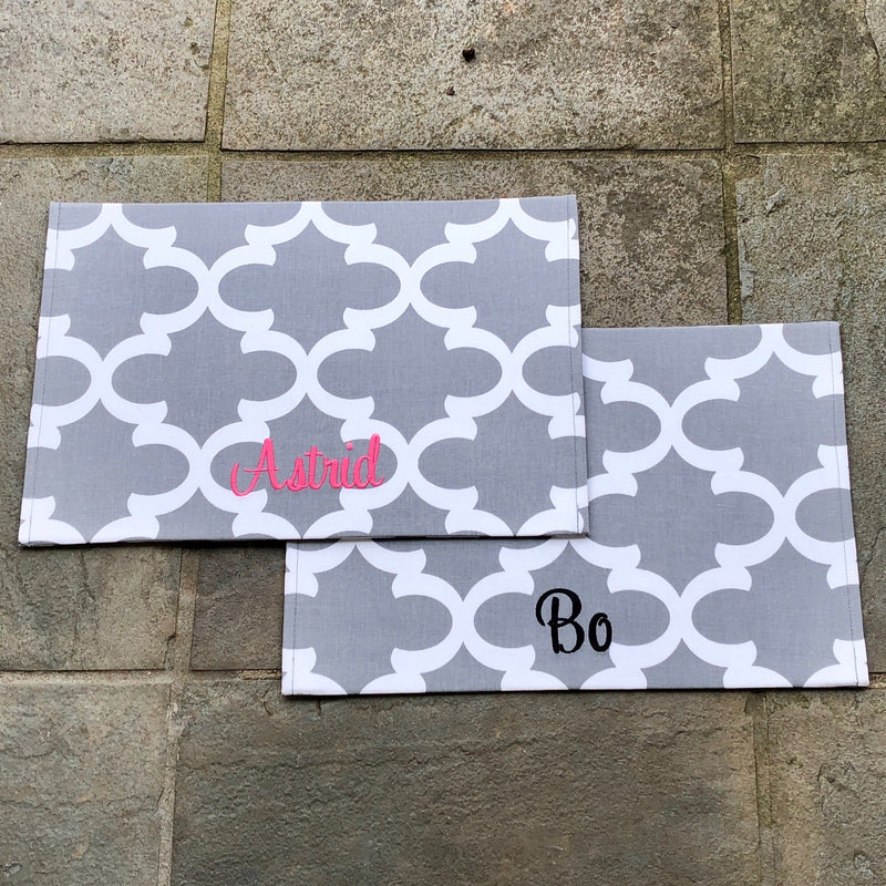 Personalized Pet Placemat from our Quatrefoil Collection