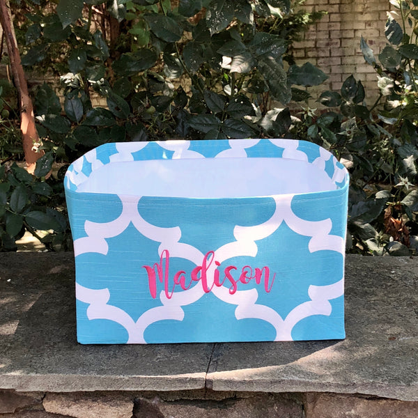 Personalized Toy Basket from our Moroccan Quatrefoil Collection