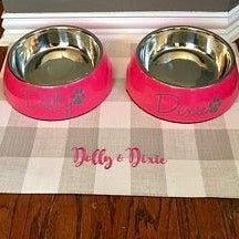 Personalized Pet Placemat in Buffalo Check