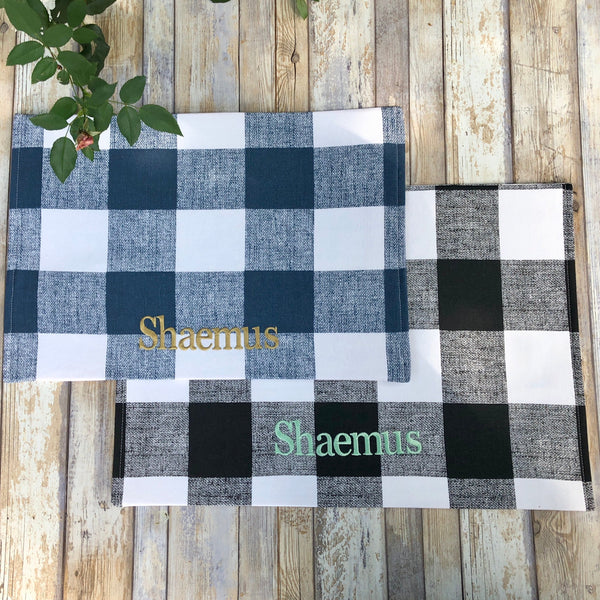 Farmhouse Personalized Pet Placemat in Buffalo Plaid