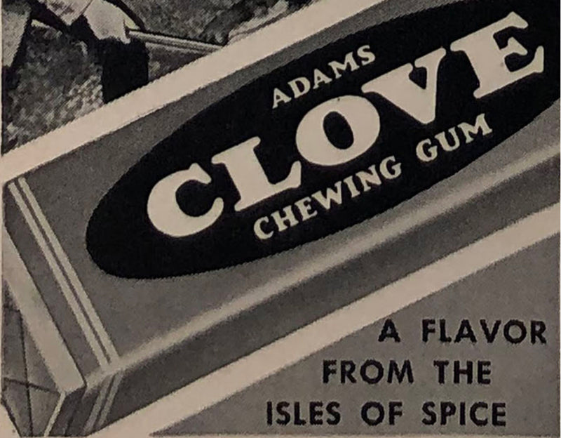 Adams Clove Chewing Gum Old Promotional Poster