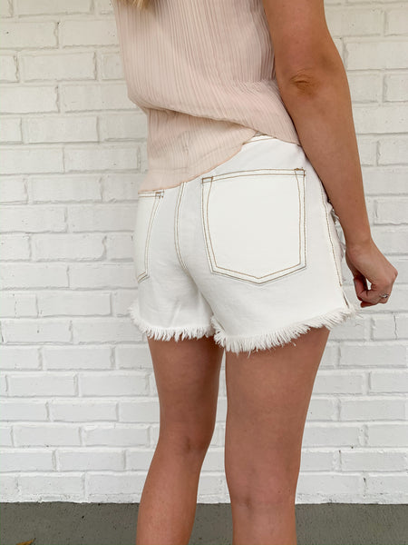 High Waisted Denim Shorts | White