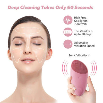 Facial Cleansing Brush made with Ultra Hygienic Soft Silicone , Waterproof Sonic Vibrating Face Brush for Deep Cleansing, Gentle Exfoliating and Massaging