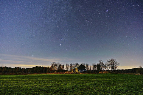 Starry Sky With Barn In The Field - Art Print