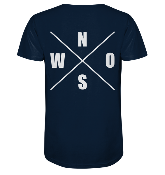 "N.O.S.W. BLOCK Shirt ""N.O.S.W. ICON"" @ Front & Back Organic V-Neck T-Shirt navy"