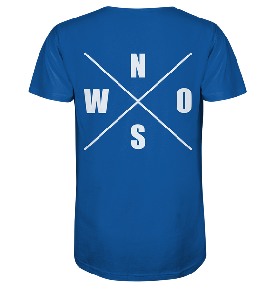 "N.O.S.W. BLOCK Shirt ""N.O.S.W. ICON"" @ Front & Back Organic V-Neck T-Shirt blau"
