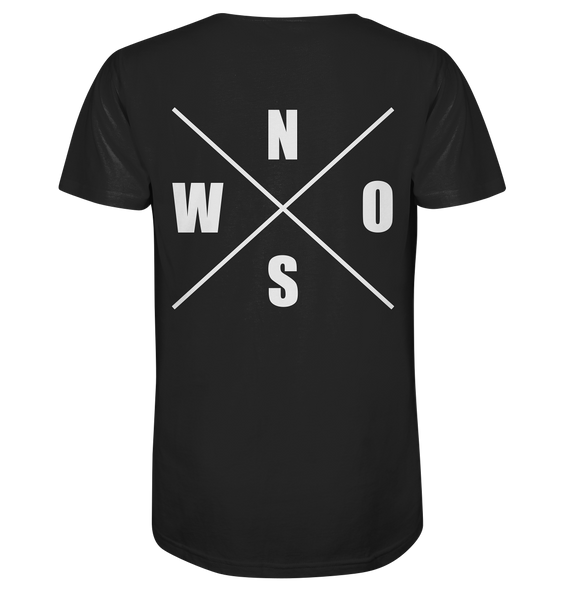 "N.O.S.W. BLOCK Shirt ""N.O.S.W. ICON"" @ Front & Back Organic V-Neck T-Shirt schwarz"