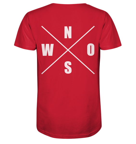 "N.O.S.W. BLOCK Shirt ""N.O.S.W. ICON"" @ Front & Back Organic V-Neck T-Shirt rot"