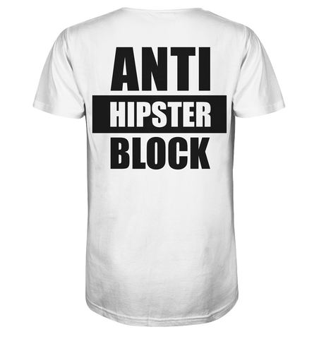 "Fanblock Shirt ""ANTI HIPSTER BLOCK"" Männer Organic V-Neck T-Shirt weiss"