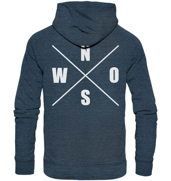 "N.O.S.W. BLOCK Hoodie ""N.O.S.W. ICON"" @ Front & Back Männer Organic Fashion Kapuzenpullover dark heather blau"