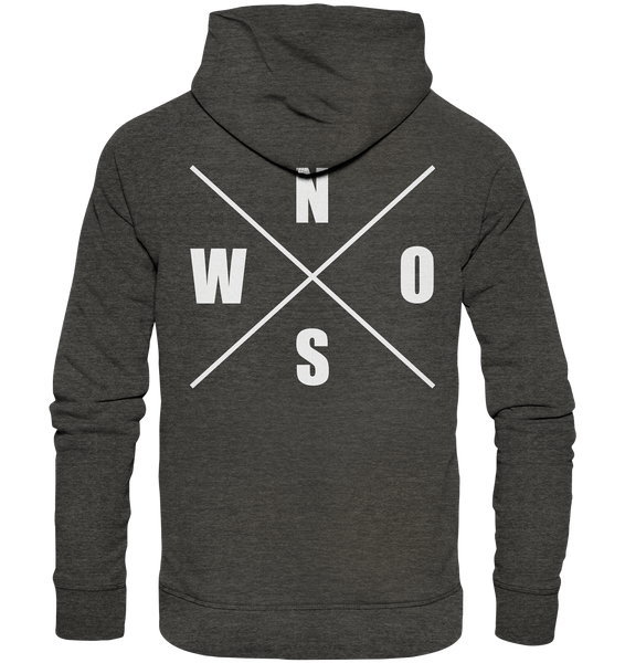 "N.O.S.W. BLOCK Hoodie ""N.O.S.W. ICON"" @ Front & Back Männer Organic Fashion Kapuzenpullover dark heather grau"