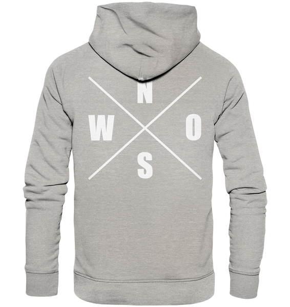 "N.O.S.W. BLOCK Hoodie ""N.O.S.W. ICON"" @ Front & Back Männer Organic Fashion Kapuzenpullover heather grau"