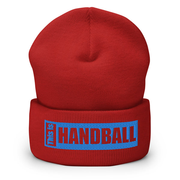 "Teamsport Beanie ""THIS IS HANDBALL"" Mütze mit Bund rot"