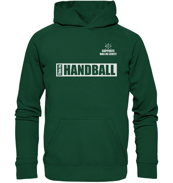 "Teamsport Hoodie ""THIS IS HANDBALL"" Kids UNISEX Kapuzenpullover dunkelgrün"