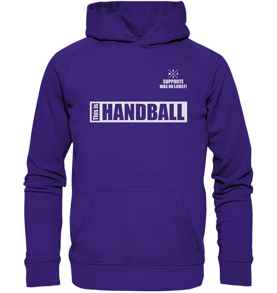 "Teamsport Hoodie ""THIS IS HANDBALL"" Kids UNISEX Kapuzenpullover lila"