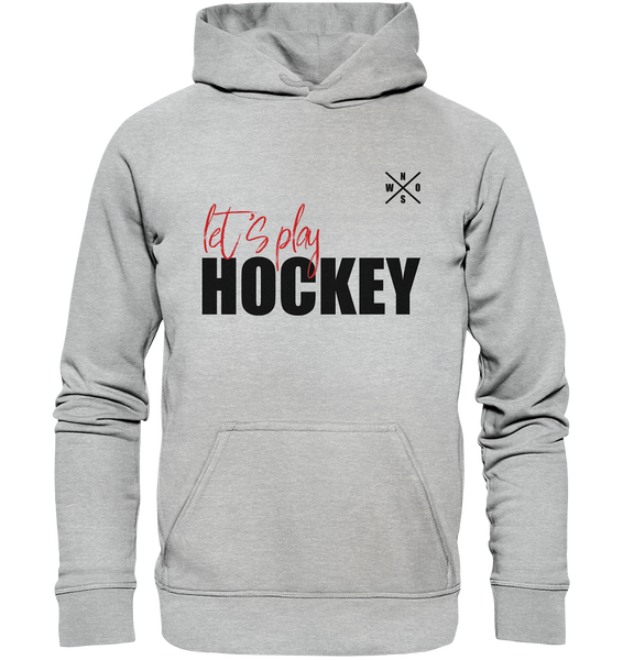 "Teamsport Hoodie ""LET´S PLAY HOCKEY"" Kids UNISEX Kapuzenpullover heather grau"