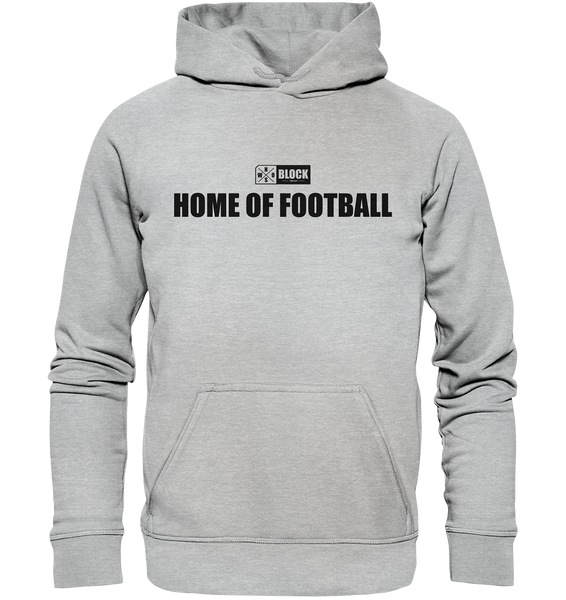 "N.O.S.W. BLOCK Hoodie ""HOME OF FOOTBALL"" Kids UNISEX Kapuzenpullover heather grau"