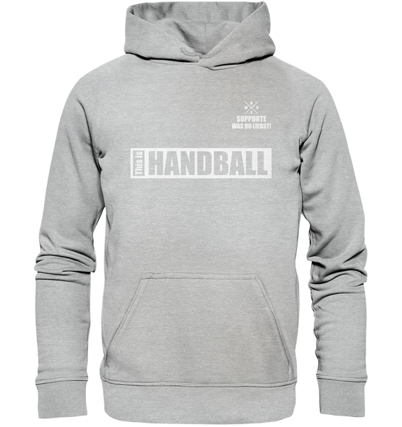 "Teamsport Hoodie ""THIS IS HANDBALL"" Kids UNISEX Kapuzenpullover heather grau"