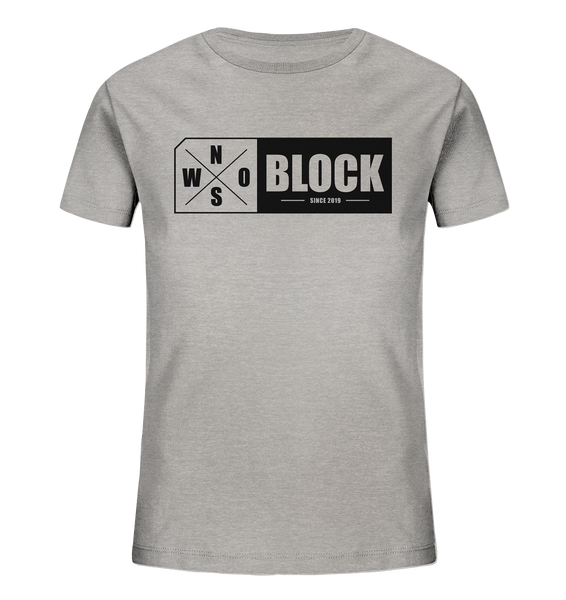 N.O.S.W. BLOCK Logo Shirt Kids UNISEX Organic T-Shirt heather grau