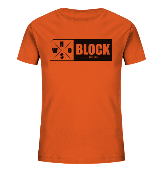 N.O.S.W. BLOCK Logo Shirt Kids UNISEX Organic T-Shirt orange