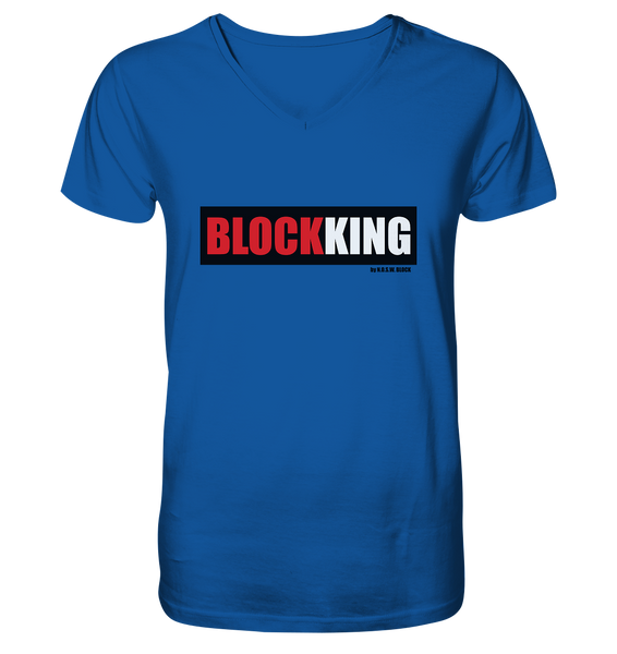 "Fanblock ""BLOCK KING"" Männer Organic V-Neck T-Shirt blau"