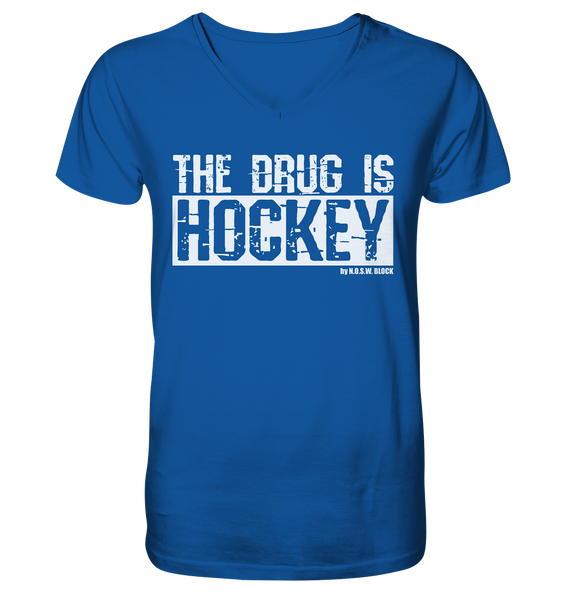 "Fanblock Shirt ""THE DRUG IS HOCKEY"" Männer Organic V-Neck T-Shirt blau"