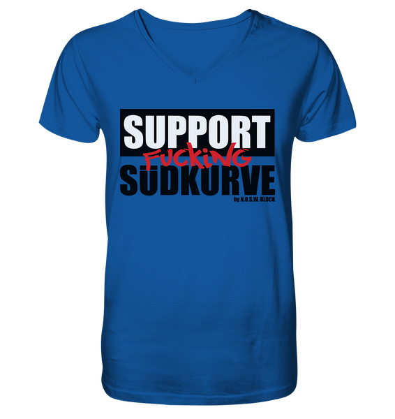 "Fanblock Shirt ""SUPPORT FUCKING SÜDKURVE"" Männer Organic V-Neck T-Shirt blau"