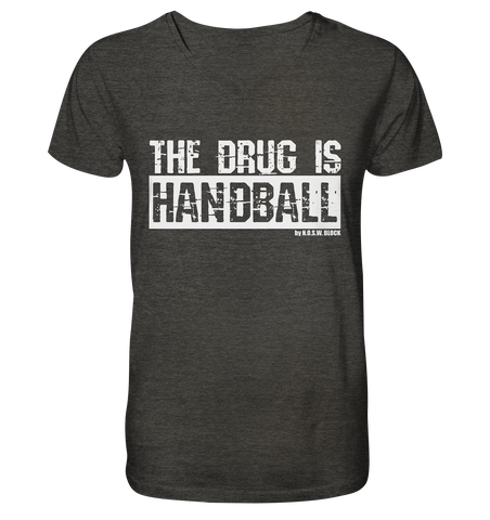 "Fanblock Shirt ""THE DRUG IS HANDBALL"" Männer Organic V-Neck T-Shirt dark heather grau"
