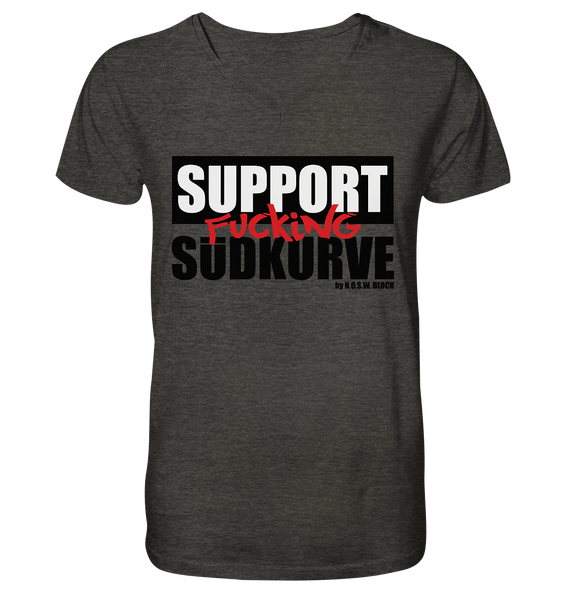 "Fanblock Shirt ""SUPPORT FUCKING SÜDKURVE"" Männer Organic V-Neck T-Shirt dunkelgrau"