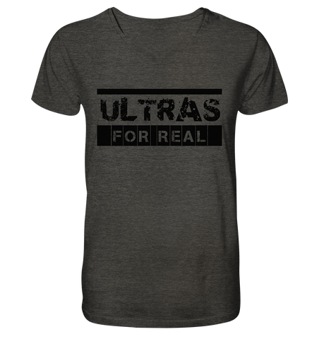 "Ultras Shirt ""ULTRAS FOR REAL"" beidseitig bedrucktes Männer Organic V-Neck T-Shirt dark heather grau"