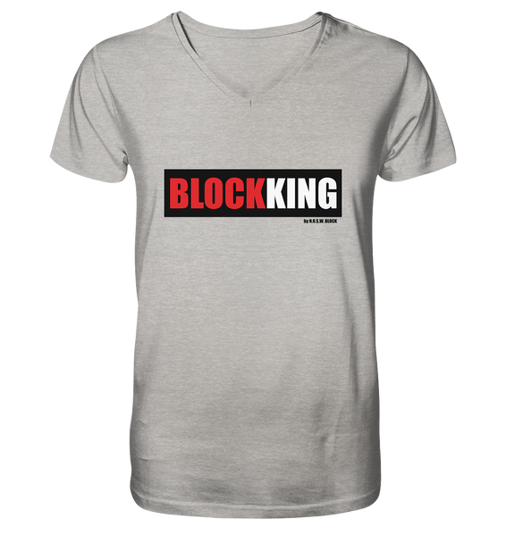 "Fanblock ""BLOCK KING"" Männer Organic V-Neck T-Shirt grau"