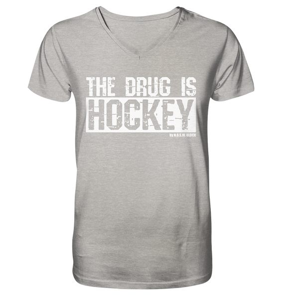 "Fanblock Shirt ""THE DRUG IS HOCKEY"" Männer Organic V-Neck T-Shirt heather grau"