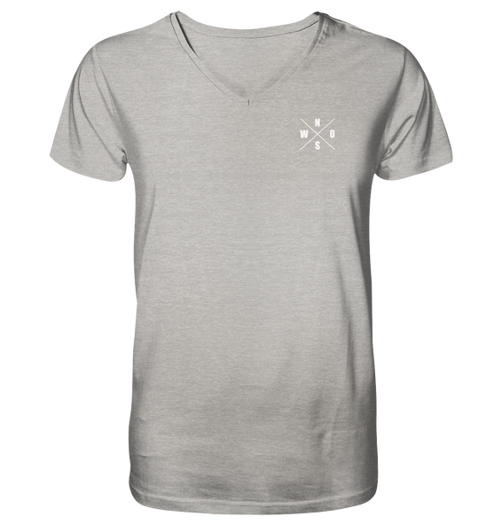 "N.O.S.W. BLOCK Shirt ""N.O.S.W. ICON"" @ Front & Back Organic V-Neck T-Shirt heather grau"