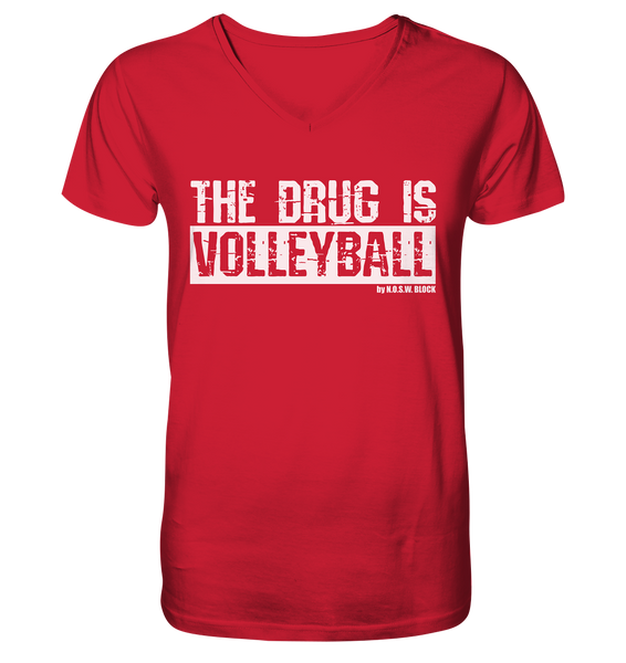 "Fanblock Shirt ""THE DRUG IS VOLLEYBALL"" Männer Organic V-Neck T-Shirt rot"