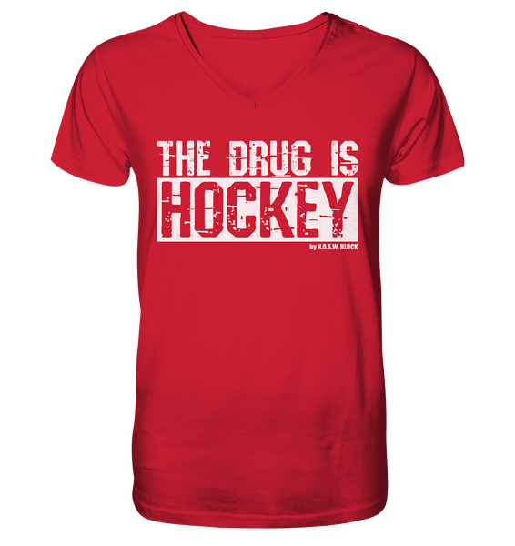 "Fanblock Shirt ""THE DRUG IS HOCKEY"" Männer Organic V-Neck T-Shirt rot"