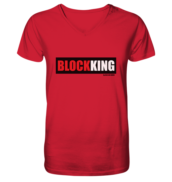 "Fanblock ""BLOCK KING"" Männer Organic V-Neck T-Shirt rot"