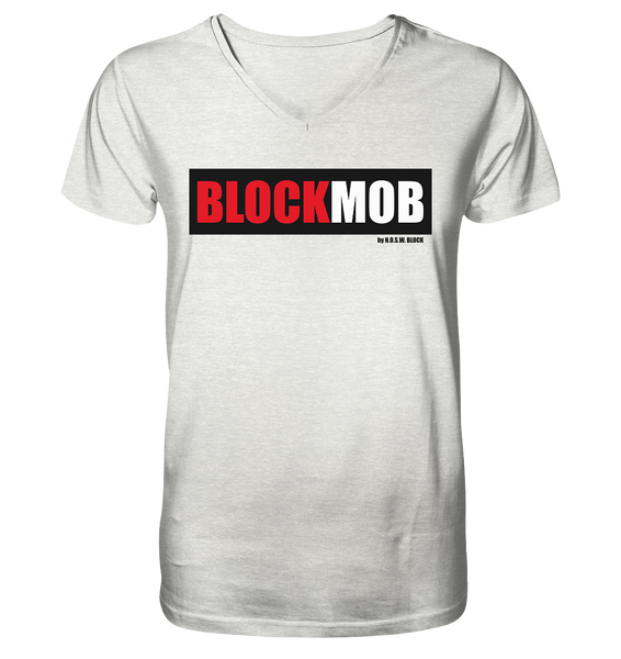 "Fanblock Shirt ""BLOCK MOB"" Männer Organic V-Neck T-Shirt creme heather grau"
