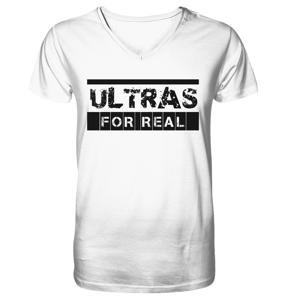 "Ultras Shirt ""ULTRAS FOR REAL"" beidseitig bedrucktes Männer Organic V-Neck Shirt (100% Bio-Baumwolle) - Mens Organic V-Neck Shirt"