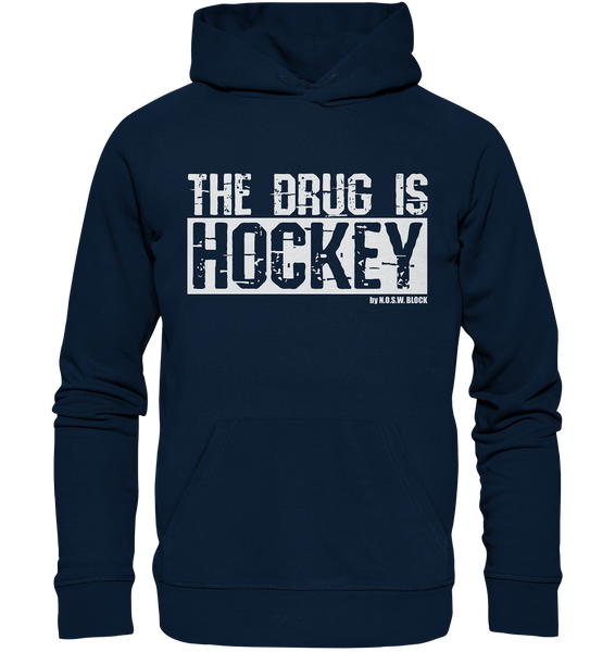 "Fanblock Hoodie ""THE DRUG IS HOCKEY"" Männer Organic Basic Kapuzenpullover navy"