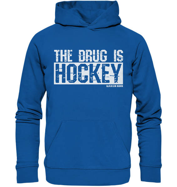"Fanblock Hoodie ""THE DRUG IS HOCKEY"" Männer Organic Basic Kapuzenpullover blau"