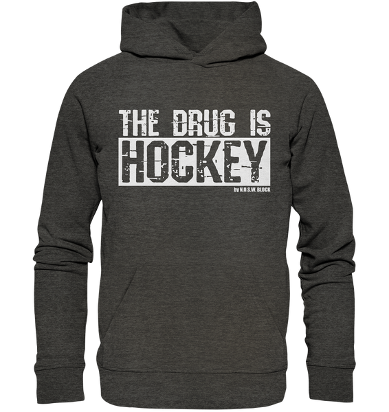 "Fanblock Hoodie ""THE DRUG IS HOCKEY"" Männer Organic Basic Kapuzenpullover dark heather grau"