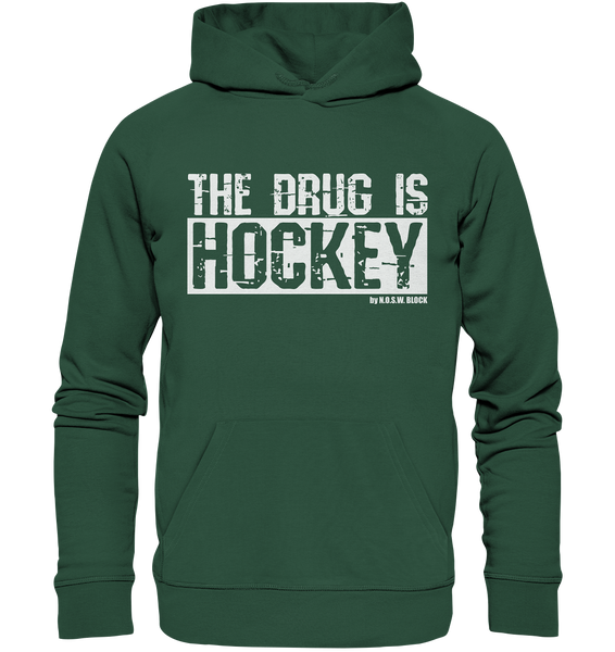 "Fanblock Hoodie ""THE DRUG IS HOCKEY"" Männer Organic Basic Kapuzenpullover grün"