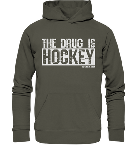 "Fanblock Hoodie ""THE DRUG IS HOCKEY"" Männer Organic Basic Kapuzenpullover khaki"