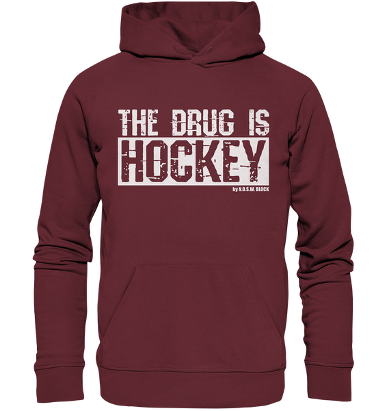 "Fanblock Hoodie ""THE DRUG IS HOCKEY"" Männer Organic Basic Kapuzenpullover weinrot"