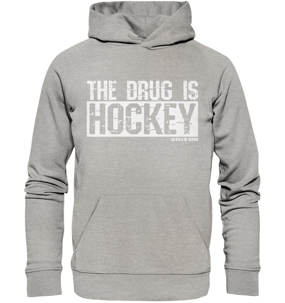 "Fanblock Hoodie ""THE DRUG IS HOCKEY"" Männer Organic Basic Kapuzenpullover heather grau"