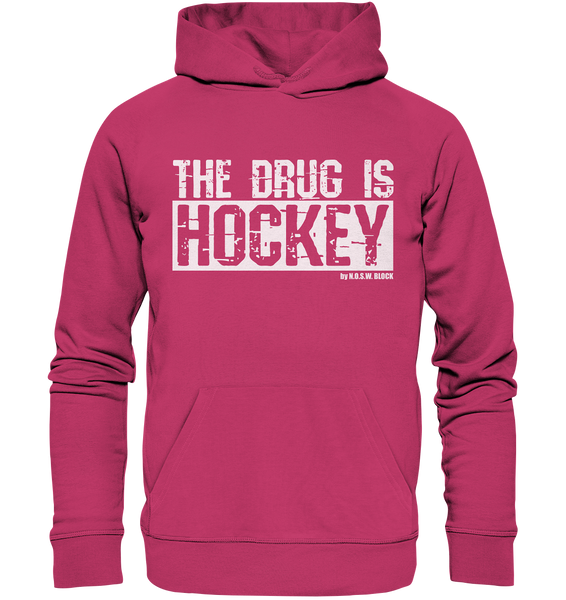 "Fanblock Hoodie ""THE DRUG IS HOCKEY"" Männer Organic Basic Kapuzenpullover himbeere"