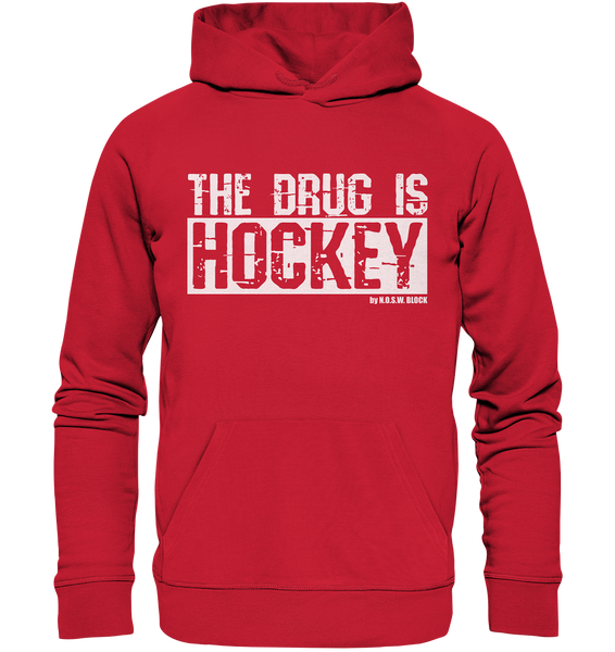 "Fanblock Hoodie ""THE DRUG IS HOCKEY"" Männer Organic Basic Kapuzenpullover rot"