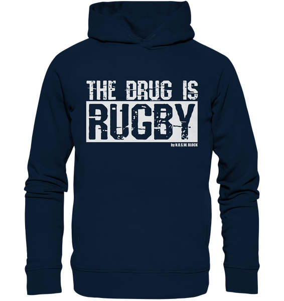 "Fanblock Hoodie ""THE DRUG IS RUGBY"" Männer Organic Fashion Kapuzenpullover navy"