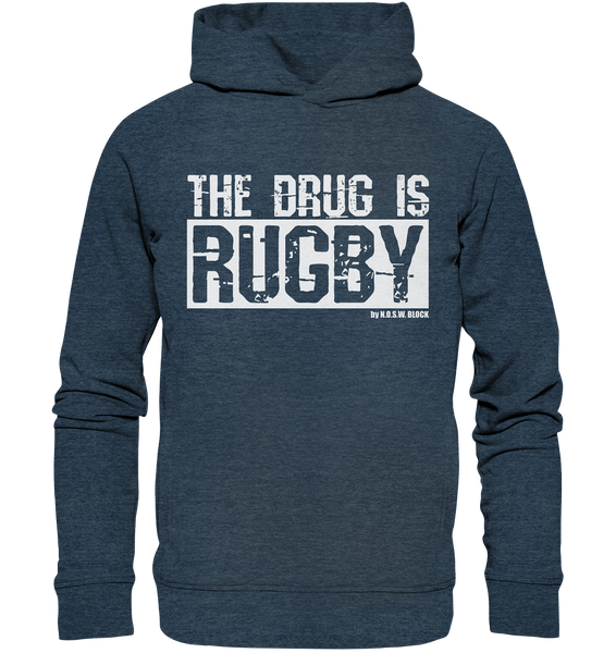 "Fanblock Hoodie ""THE DRUG IS RUGBY"" Männer Organic Fashion Kapuzenpullover dark heather blau"